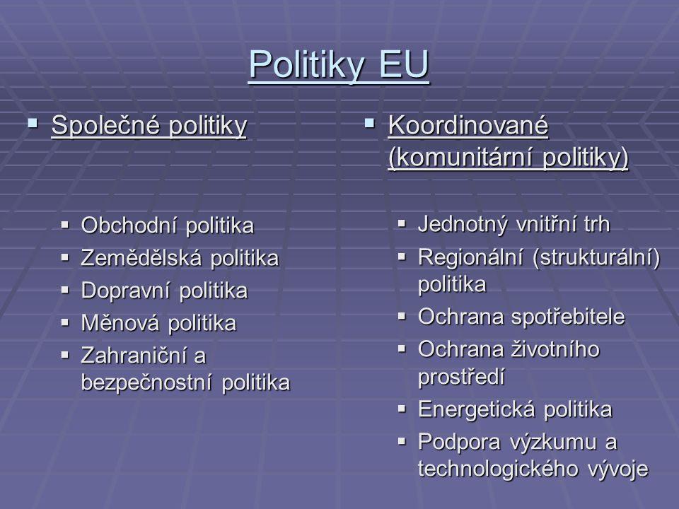 Politiky EU  Společné politiky  Obchodní politika  Zemědělská politika  Dopravní politika  Měnová politika  Zahraniční a bezpečnostní politika  Koordinované (komunitární politiky)  Jednotný vnitřní trh  Regionální (strukturální) politika  Ochrana spotřebitele  Ochrana životního prostředí  Energetická politika  Podpora výzkumu a technologického vývoje