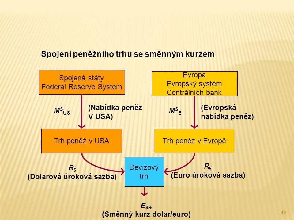48 Spojení peněžního trhu se směnným kurzem Trh peněz v EvropěTrh peněž v USA Evropa Evropský systém Centrálních bank Spojená státy Federal Reserve System (Nabídka peněz V USA) M S US MSEMSE (Evropská nabídka peněz) R $ (Dolarová úroková sazba) R € (Euro úroková sazba) Devizový trh E $/€ (Směnný kurz dolar/euro)