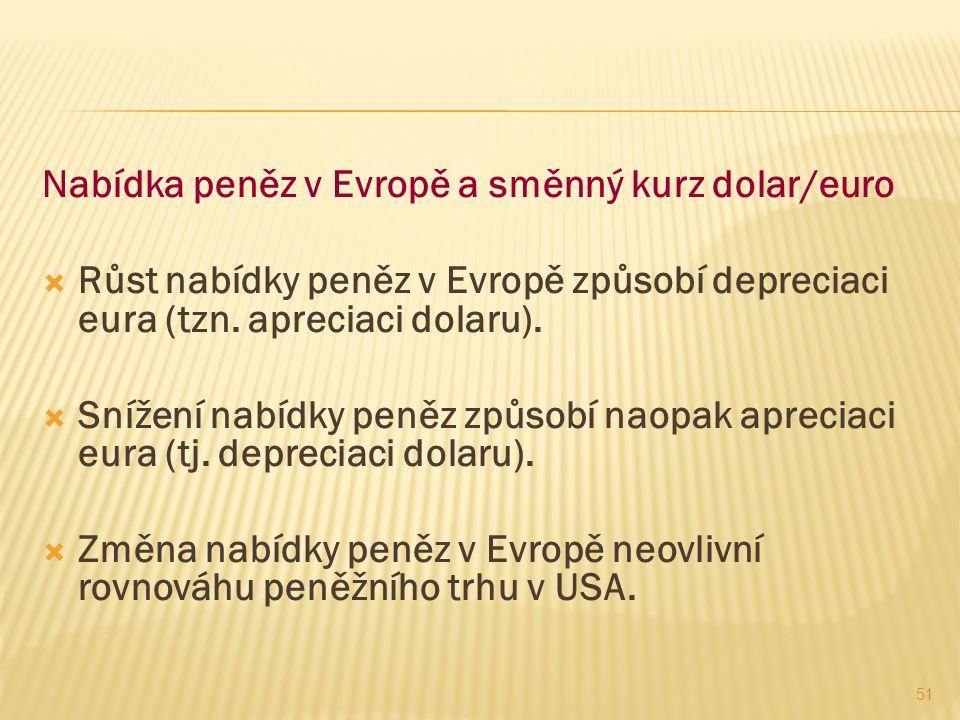 51 Nabídka peněz v Evropě a směnný kurz dolar/euro  Růst nabídky peněz v Evropě způsobí depreciaci eura (tzn.