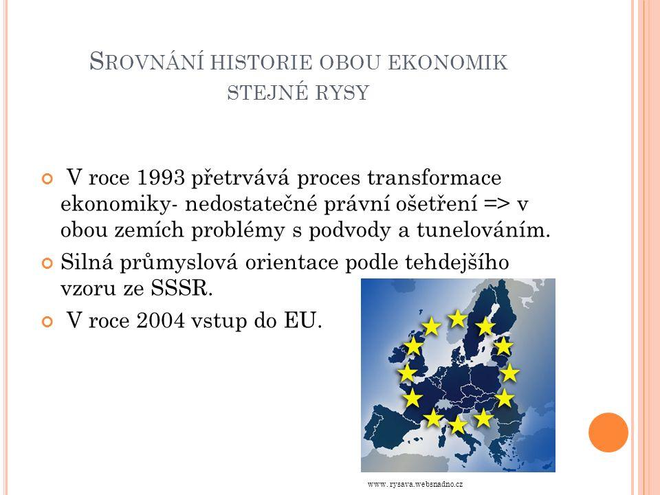S ROVNÁNÍ HISTORIE OBOU EKONOMIK STEJNÉ RYSY V roce 1993 přetrvává proces transformace ekonomiky- nedostatečné právní ošetření => v obou zemích problémy s podvody a tunelováním.