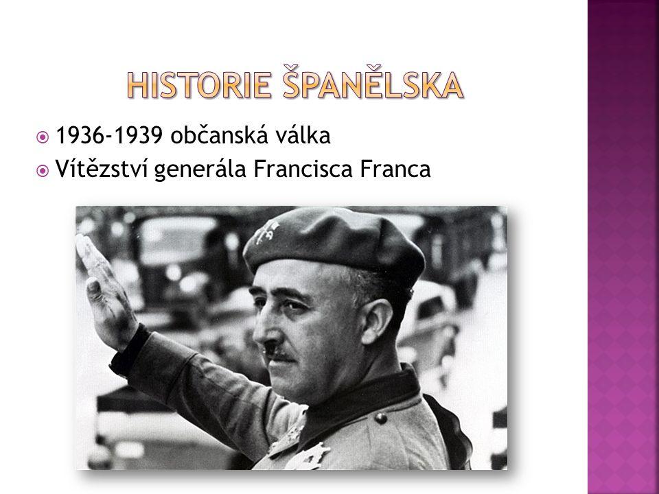  1936-1939 občanská válka  Vítězství generála Francisca Franca