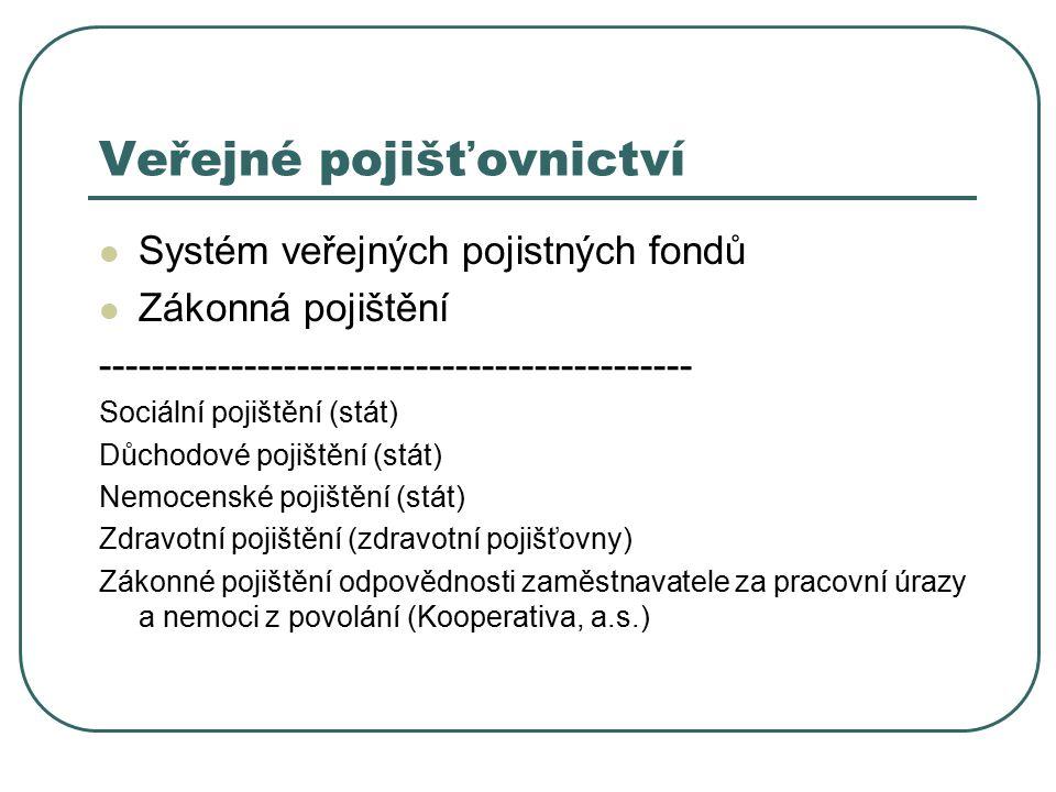 Soukromé pojišťovnictví Pojištění na principech trhu Existence obligatorního pojištění Soukromé pojistné fondy Veřejnoprávní dohled Soukromoprávní produkty