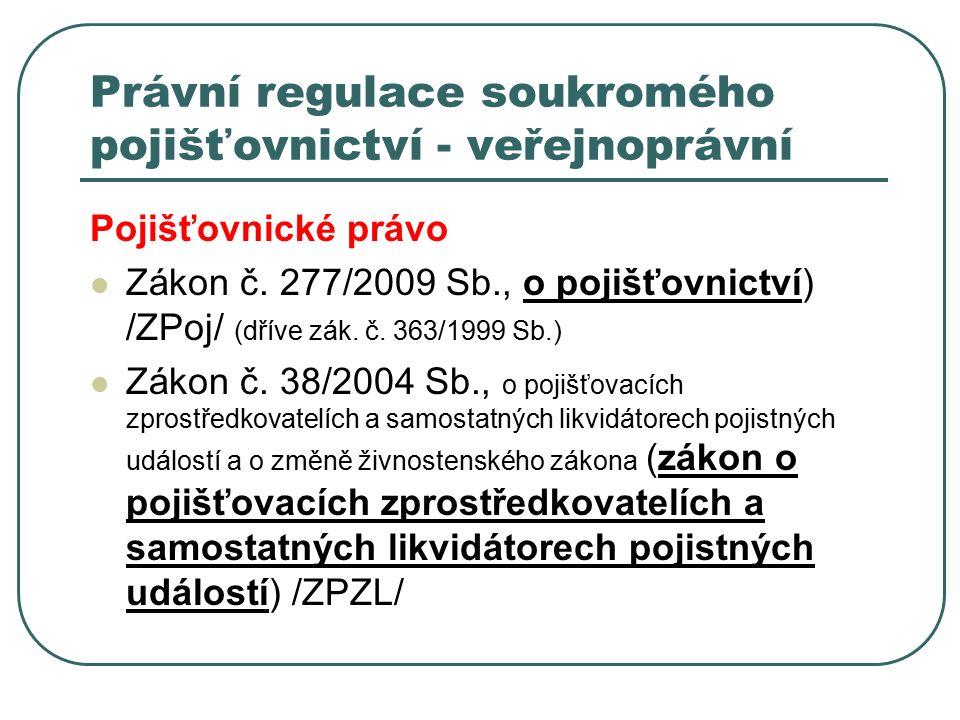 Právní regulace soukromého pojišťovnictví - veřejnoprávní Pojišťovnické právo Zákon č. 277/2009 Sb., o pojišťovnictví) /ZPoj/ (dříve zák. č. 363/1999