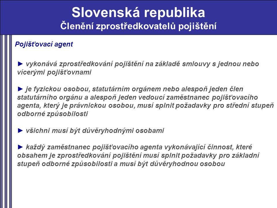 Slovenská republika Členění zprostředkovatelů pojištění Pojišťovací agent ► vykonává zprostředkování pojištění na základě smlouvy s jednou nebo vícerými pojišťovnami ► je fyzickou osobou, statutárním orgánem nebo alespoň jeden člen statutárního orgánu a alespoň jeden vedoucí zaměstnanec pojišťovacího agenta, který je právnickou osobou, musí splnit požadavky pro střední stupeň odborné způsobilosti ► všichni musí být důvěryhodnými osobami ► každý zaměstnanec pojišťovacího agenta vykonávající činnost, které obsahem je zprostředkování pojištění musí splnit požadavky pro základní stupeň odborné způsobilosti a musí být důvěryhodnou osobou