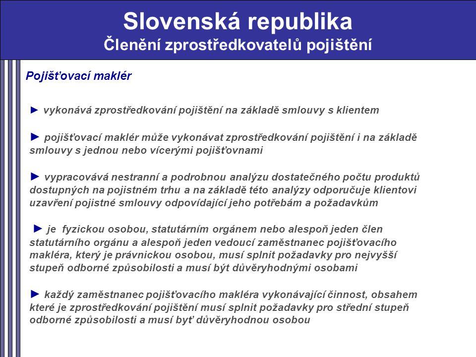 Slovenská republika Členění zprostředkovatelů pojištění Pojišťovací maklér ► vykonává zprostředkování pojištění na základě smlouvy s klientem ► pojišťovací maklér může vykonávat zprostředkování pojištění i na základě smlouvy s jednou nebo vícerými pojišťovnami ► vypracovává nestranní a podrobnou analýzu dostatečného počtu produktů dostupných na pojistném trhu a na základě této analýzy odporučuje klientovi uzavření pojistné smlouvy odpovídající jeho potřebám a požadavkům ► je fyzickou osobou, statutárním orgánem nebo alespoň jeden člen statutárního orgánu a alespoň jeden vedoucí zaměstnanec pojišťovacího makléra, který je právnickou osobou, musí splnit požadavky pro nejvyšší stupeň odborné způsobilosti a musí být důvěryhodnými osobami ► každý zaměstnanec pojišťovacího makléra vykonávající činnost, obsahem které je zprostředkování pojištění musí splnit požadavky pro střední stupeň odborné způsobilosti a musí byť důvěryhodnou osobou