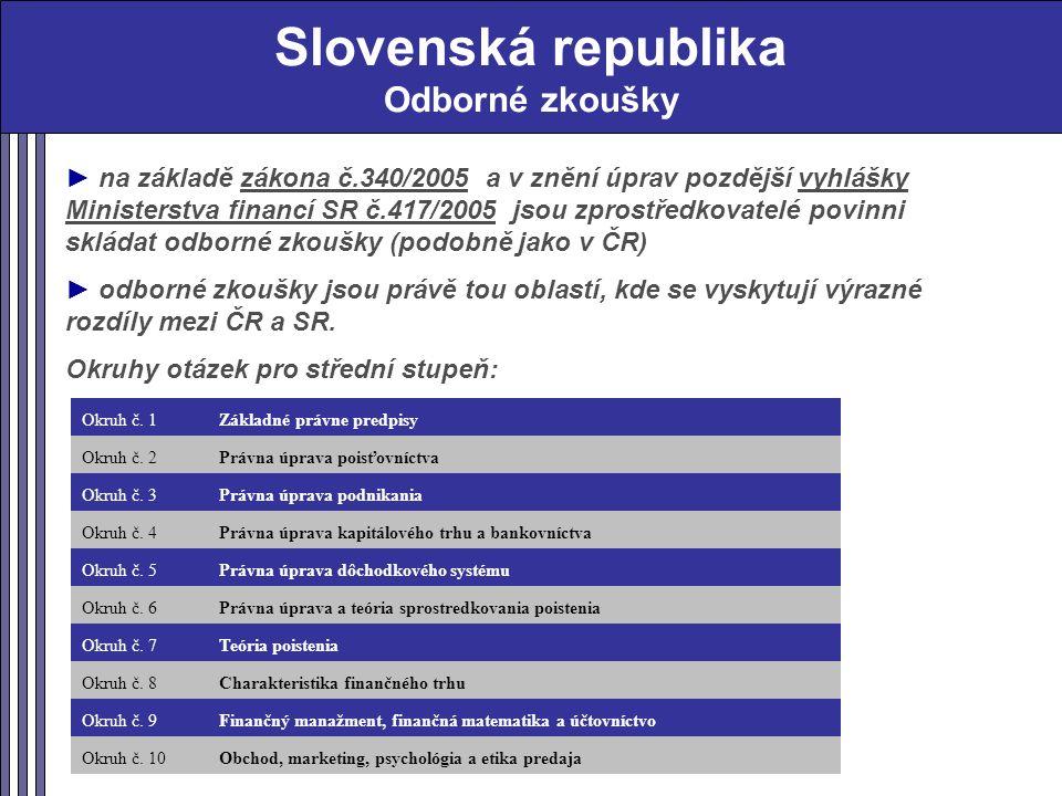 Slovenská republika Odborné zkoušky ► na základě zákona č.340/2005 a v znění úprav pozdější vyhlášky Ministerstva financí SR č.417/2005 jsou zprostředkovatelé povinni skládat odborné zkoušky (podobně jako v ČR) ► odborné zkoušky jsou právě tou oblastí, kde se vyskytují výrazné rozdíly mezi ČR a SR.