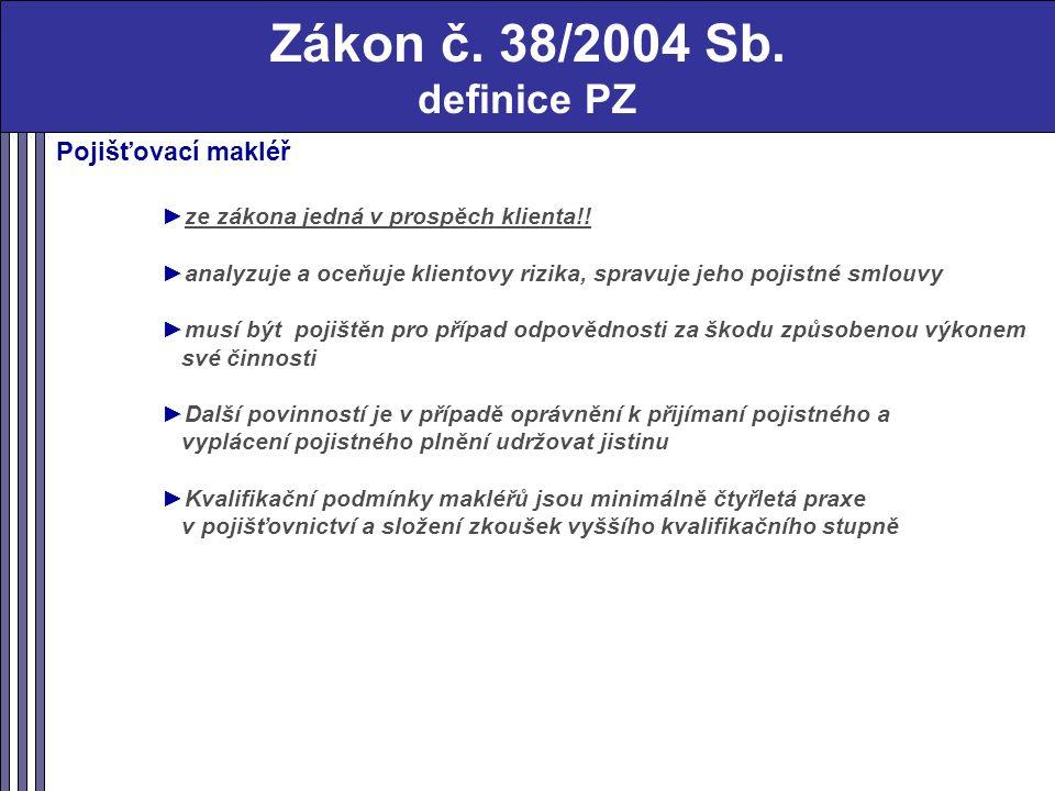 Zákon č. 38/2004 Sb. definice PZ Pojišťovací makléř ►ze zákona jedná v prospěch klienta!.