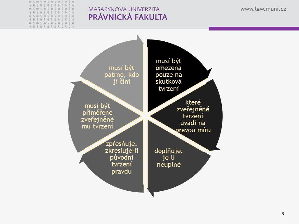 www.law.muni.cz musí být omezena pouze na skutková tvrzení které zveřejněné tvrzení uvádí na pravou míru doplňuje, je-li neúplné zpřesňuje, zkresluje-li původní tvrzení pravdu musí být přiměřené zveřejněné mu tvrzení musí být patrno, kdo ji činí 3