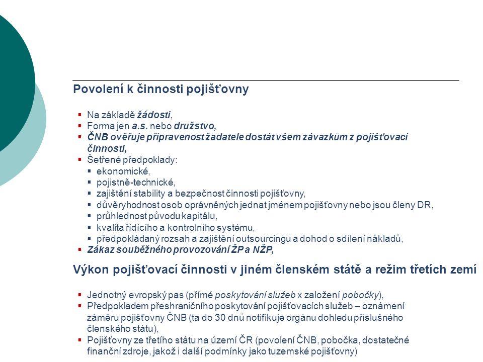 VODNÍ BOHATSTVÍ ČESKÉ REPUBLIKY Povolení k činnosti pojišťovny  Na základě žádosti,  Forma jen a.s.
