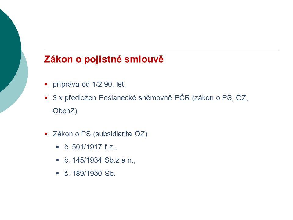 VODNÍ BOHATSTVÍ ČESKÉ REPUBLIKY Zákon o pojistné smlouvě  příprava od 1/2 90.