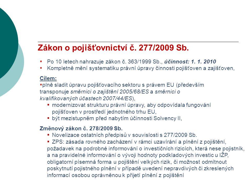 VODNÍ BOHATSTVÍ ČESKÉ REPUBLIKY Zákon o pojišťovnictví č.