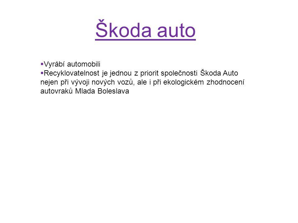 Škoda auto  Vyrábí automobili  Recyklovatelnost je jednou z priorit společnosti Škoda Auto nejen při vývoji nových vozů, ale i při ekologickém zhodn