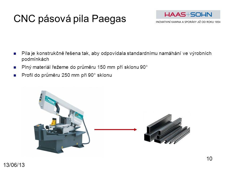 CNC pásová pila Paegas Pila je konstrukčně řešena tak, aby odpovídala standardnímu namáhání ve výrobních podmínkách Plný materiál řežeme do průměru 150 mm pří sklonu 90° Profil do průměru 250 mm při 90° sklonu 10