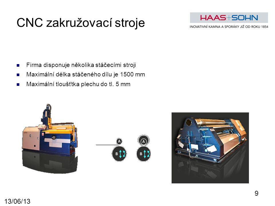 CNC zakružovací stroje Firma disponuje několika stáčecími stroji Maximální délka stáčeného dílu je 1500 mm Maximální tloušťtka plechu do tl.