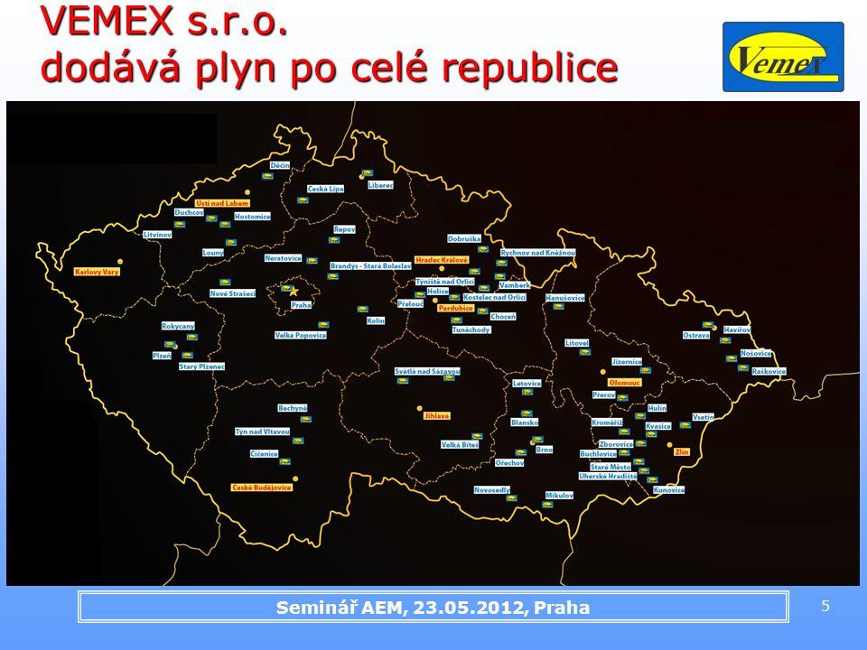 Seminář AEM, 23.05.2012, Praha 5 VEMEX s.r.o. dodává plyn po celé republice