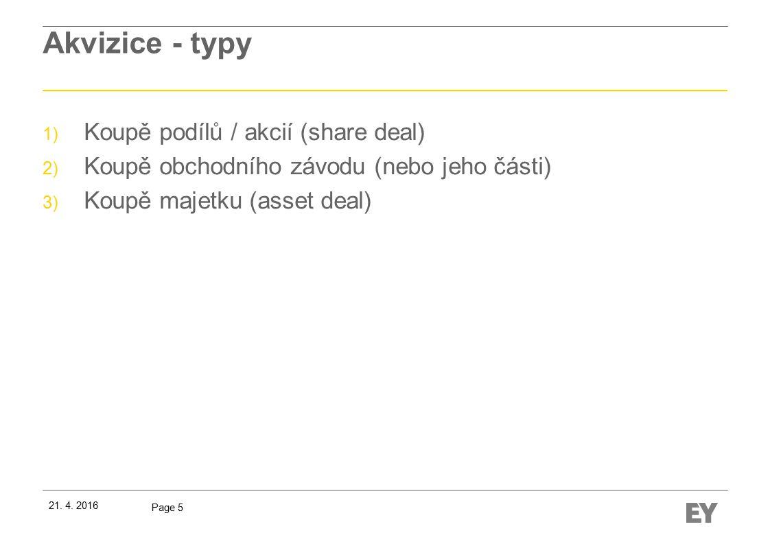 Page 5 Akvizice - typy 1) Koupě podílů / akcií (share deal) 2) Koupě obchodního závodu (nebo jeho části) 3) Koupě majetku (asset deal) 21.