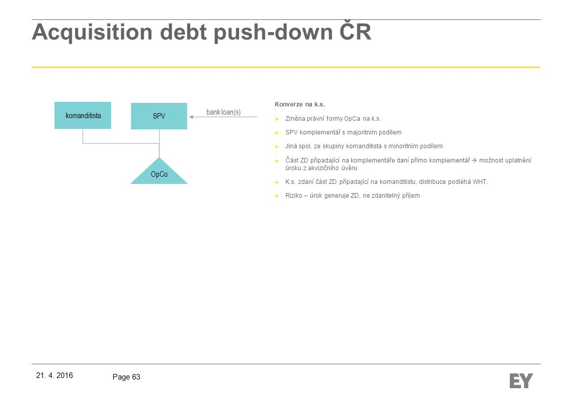 Page 63 Acquisition debt push-down ČR Konverze na k.s.