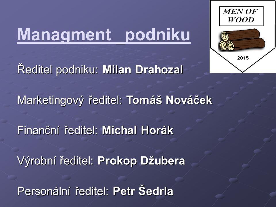Managment podniku Ředitel podniku: Milan Drahozal Marketingový ředitel: Tomáš Nováček Finanční ředitel: Michal Horák Výrobní ředitel: Prokop Džubera P