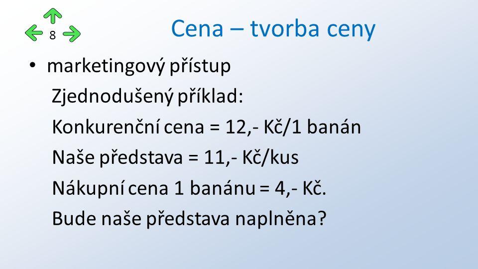 marketingový přístup Zjednodušený příklad: Konkurenční cena = 12,- Kč/1 banán Naše představa = 11,- Kč/kus Nákupní cena 1 banánu = 4,- Kč. Bude naše p