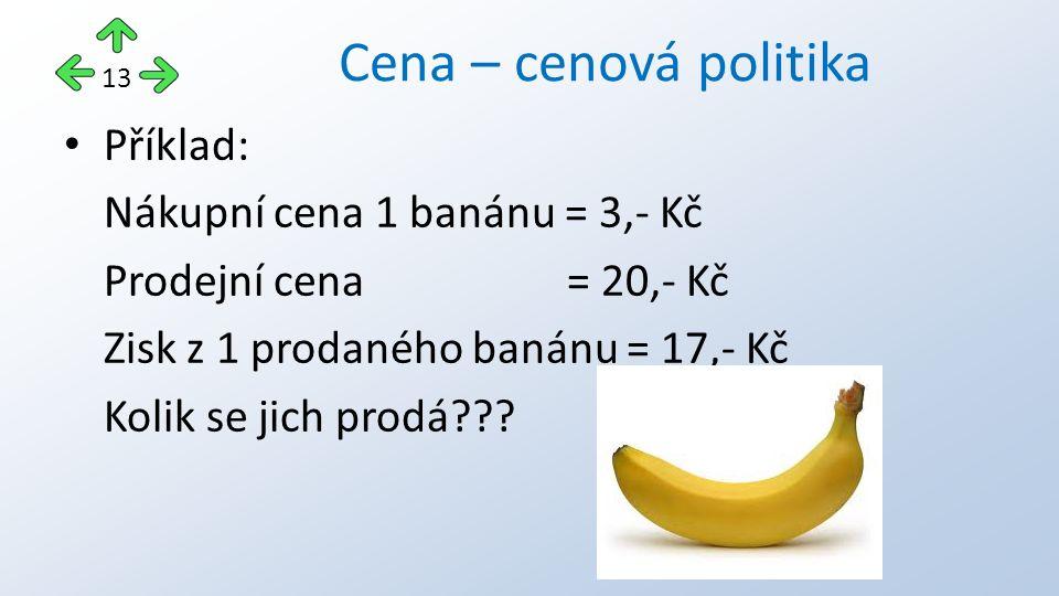 Příklad: Nákupní cena 1 banánu = 3,- Kč Prodejní cena = 20,- Kč Zisk z 1 prodaného banánu = 17,- Kč Kolik se jich prodá??? Cena – cenová politika 13