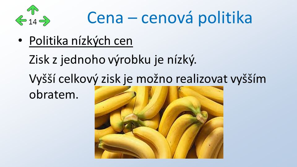 Cena – cenová politika Politika nízkých cen Zisk z jednoho výrobku je nízký.