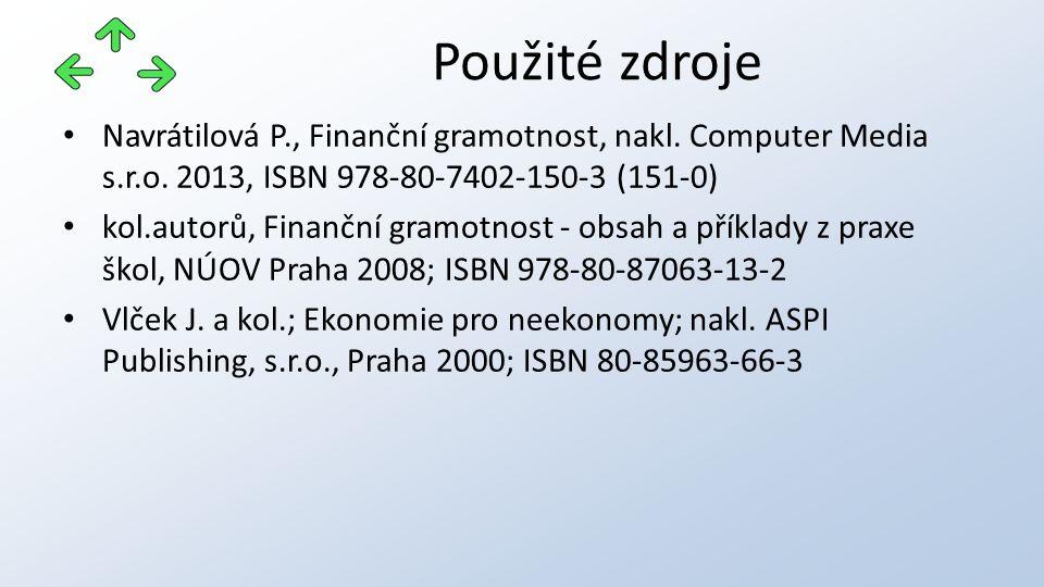 Navrátilová P., Finanční gramotnost, nakl. Computer Media s.r.o. 2013, ISBN 978-80-7402-150-3 (151-0) kol.autorů, Finanční gramotnost - obsah a příkla