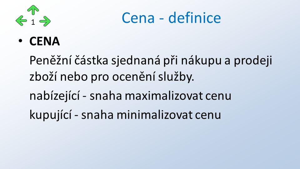 CENA Peněžní částka sjednaná při nákupu a prodeji zboží nebo pro ocenění služby. nabízející - snaha maximalizovat cenu kupující - snaha minimalizovat
