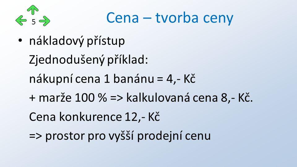 nákladový přístup Zjednodušený příklad: nákupní cena 1 banánu = 4,- Kč + marže 100 % => kalkulovaná cena 8,- Kč. Cena konkurence 12,- Kč => prostor pr