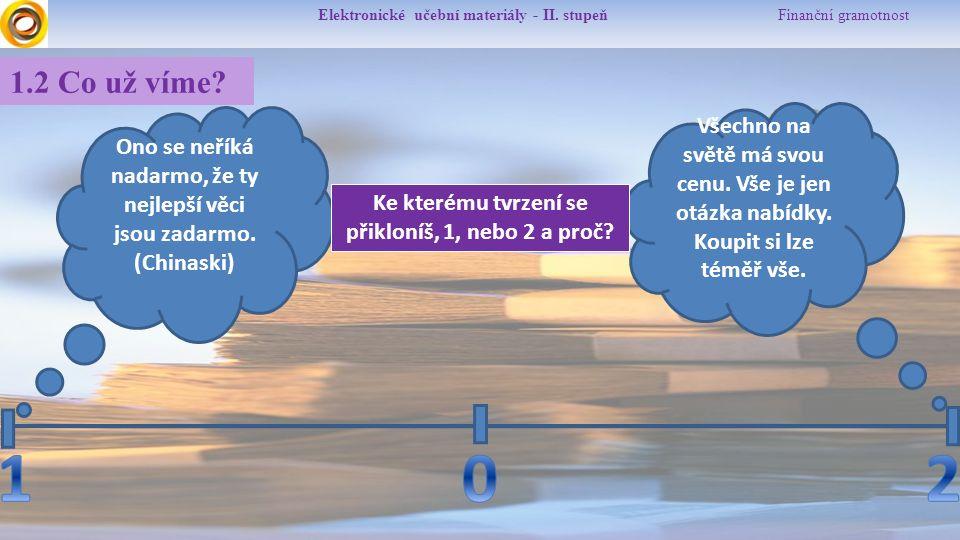 Elektronické učební materiály - II. stupeň Finanční gramotnost 1.2 Co už víme? Všechno na světě má svou cenu. Vše je jen otázka nabídky. Koupit si lze