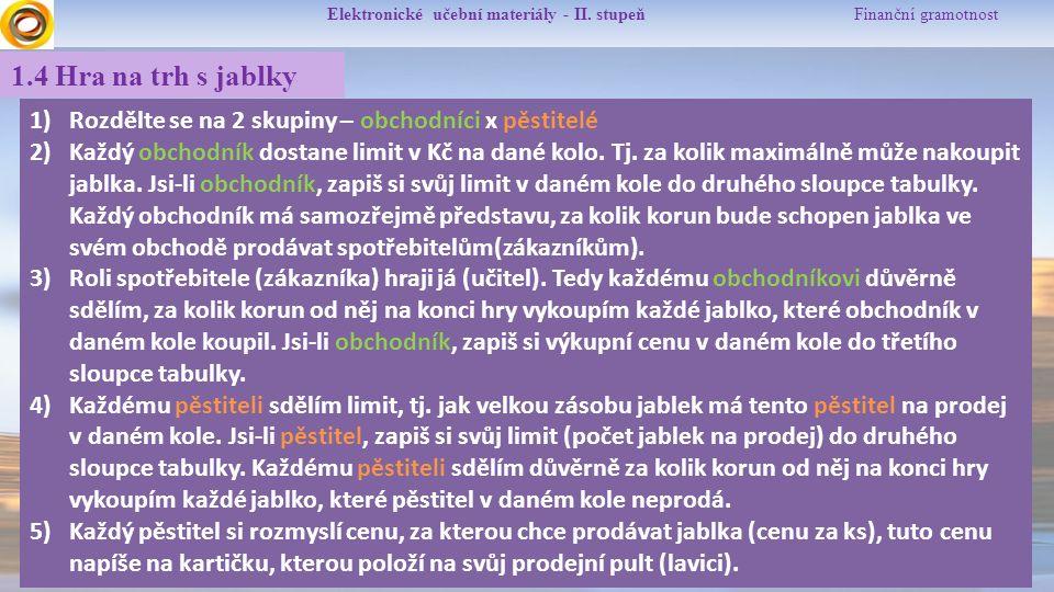 Elektronické učební materiály - II. stupeň Finanční gramotnost 1.4 Hra na trh s jablky 1)Rozdělte se na 2 skupiny – obchodníci x pěstitelé 2)Každý obc