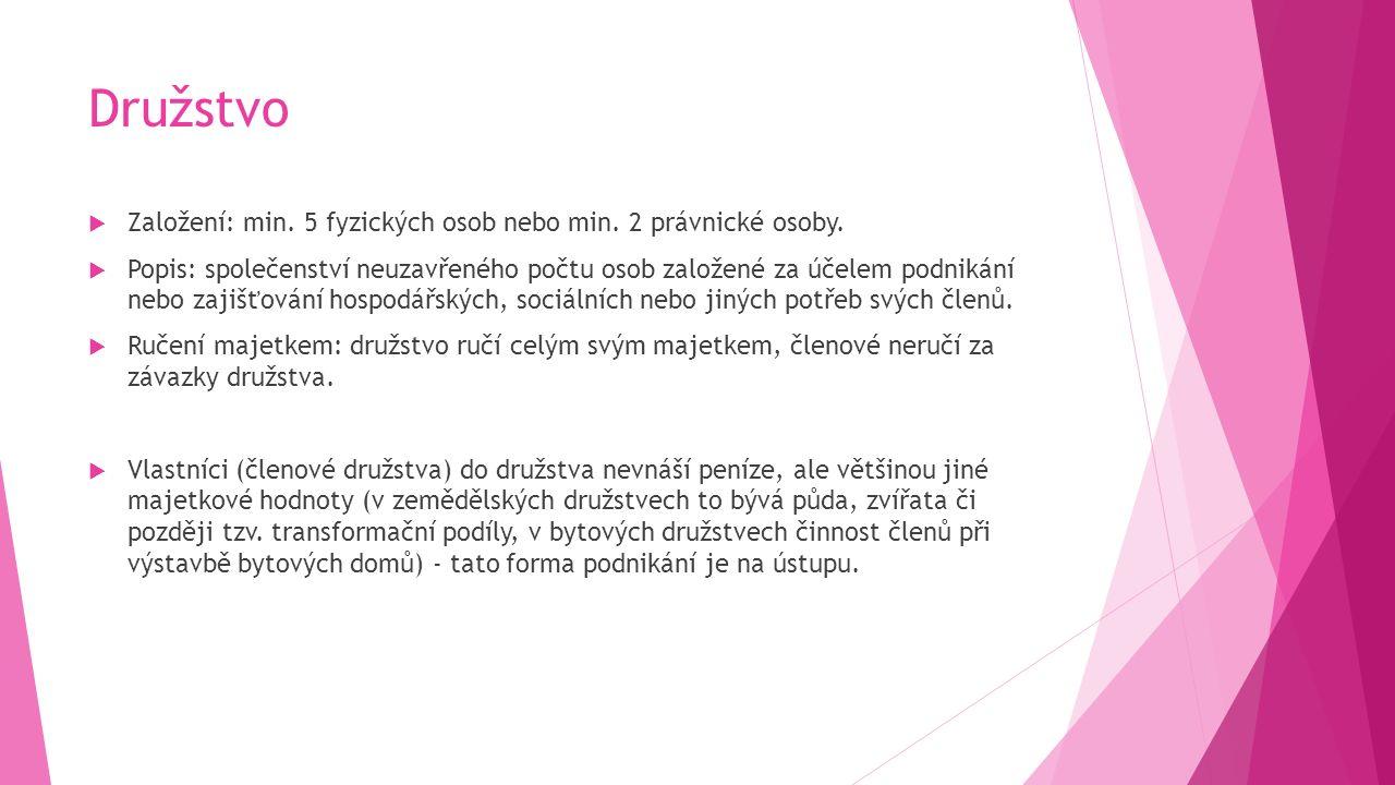Družstvo  Založení: min. 5 fyzických osob nebo min.