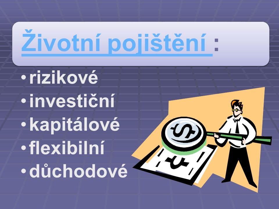 Investiční životní pojištění Investiční životní pojištění v sobě kombinuje: krytí pojištěnce spoření, které může přinést zajímavý výnos Obsahuje dvě složky: pojistnou spořící