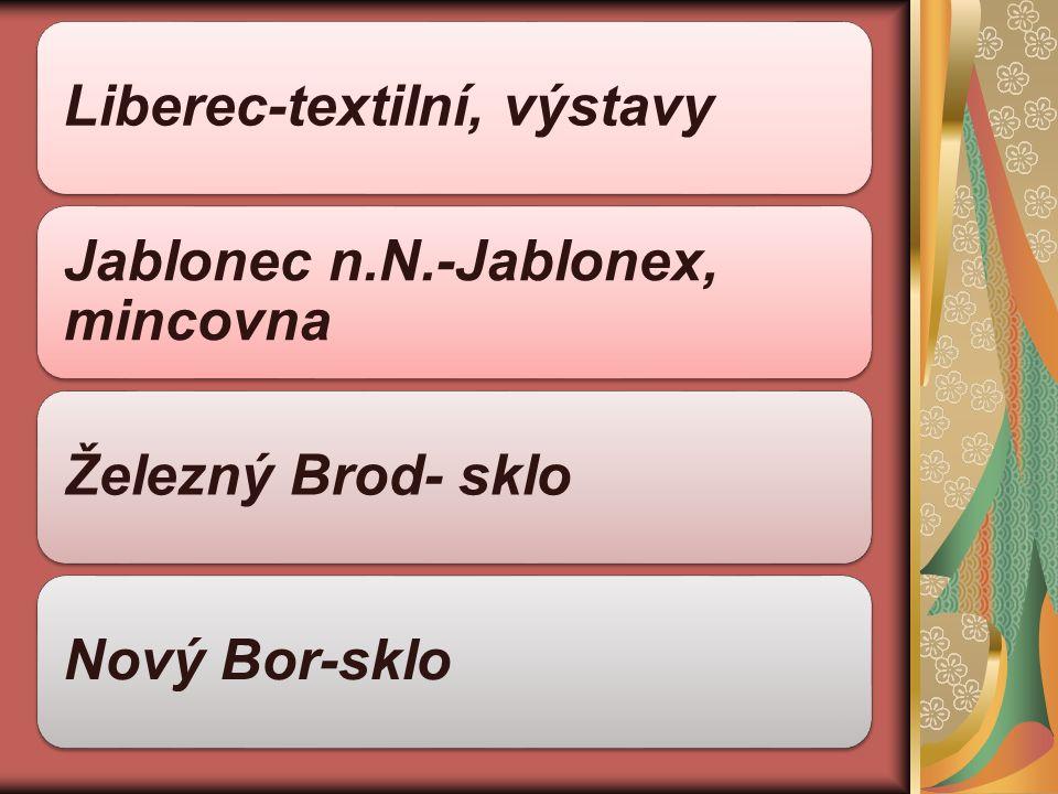 Liberec-textilní, výstavy Jablonec n.N.-Jablonex, mincovna Železný Brod- skloNový Bor-sklo