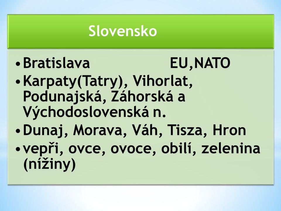 Slovensko BratislavaEU,NATO Karpaty(Tatry), Vihorlat, Podunajská, Záhorská a Východoslovenská n.