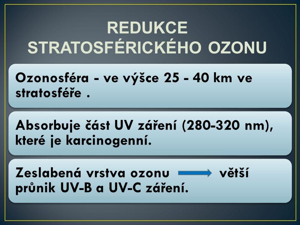 REDUKCE STRATOSFÉRICKÉHO OZONU Ozonosféra - ve výšce 25 - 40 km ve stratosféře. Absorbuje část UV záření (280-320 nm), které je karcinogenní. Zeslaben