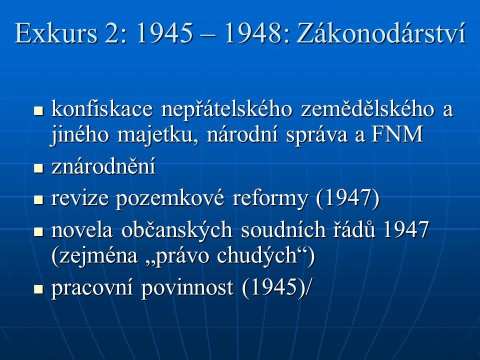 """Exkurs 2: 1945 – 1948: Zákonodárství konfiskace nepřátelského zemědělského a jiného majetku, národní správa a FNM konfiskace nepřátelského zemědělského a jiného majetku, národní správa a FNM znárodnění znárodnění revize pozemkové reformy (1947) revize pozemkové reformy (1947) novela občanských soudních řádů 1947 (zejména """"právo chudých ) novela občanských soudních řádů 1947 (zejména """"právo chudých ) pracovní povinnost (1945)/ pracovní povinnost (1945)/"""