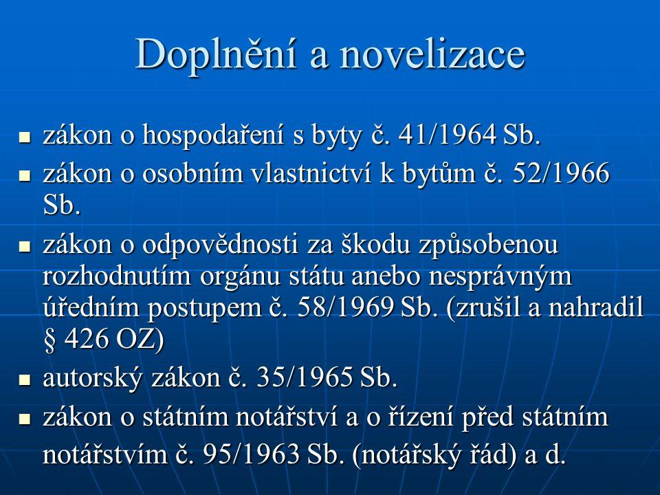Doplnění a novelizace zákon o hospodaření s byty č.