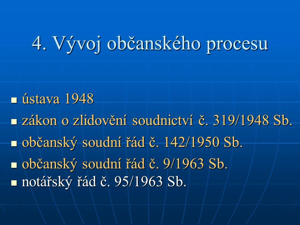 4. Vývoj občanského procesu ústava 1948 ústava 1948 zákon o zlidovění soudnictví č.