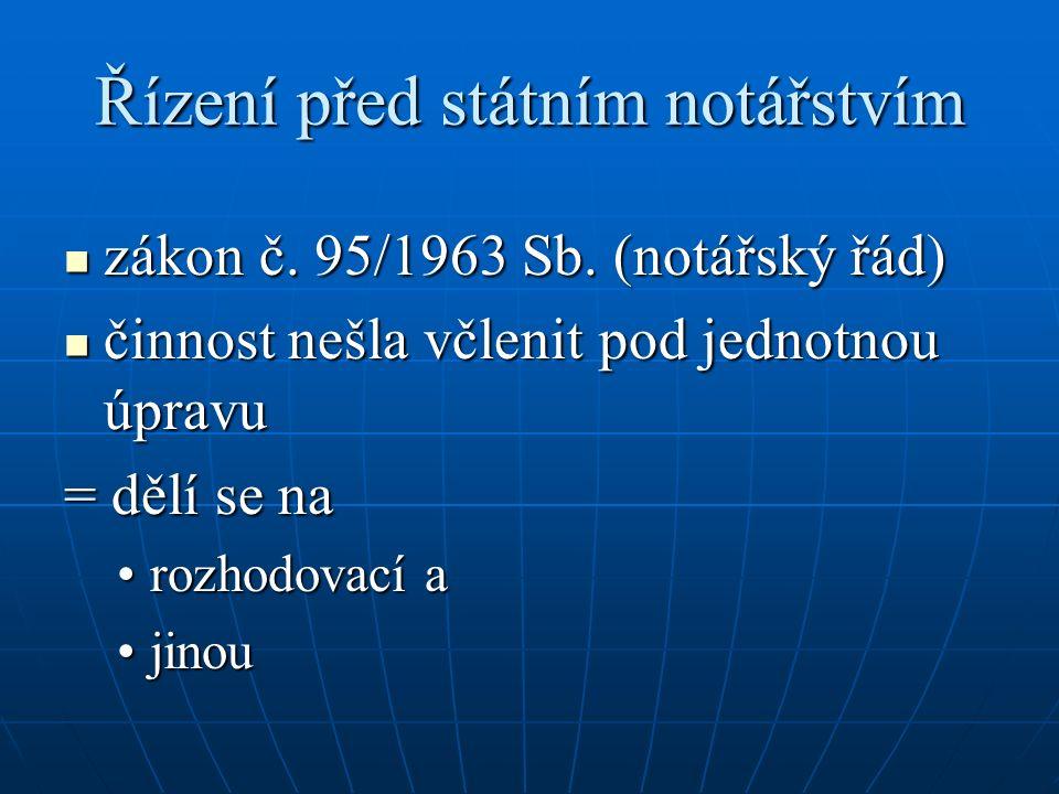 Řízení před státním notářstvím zákon č. 95/1963 Sb.