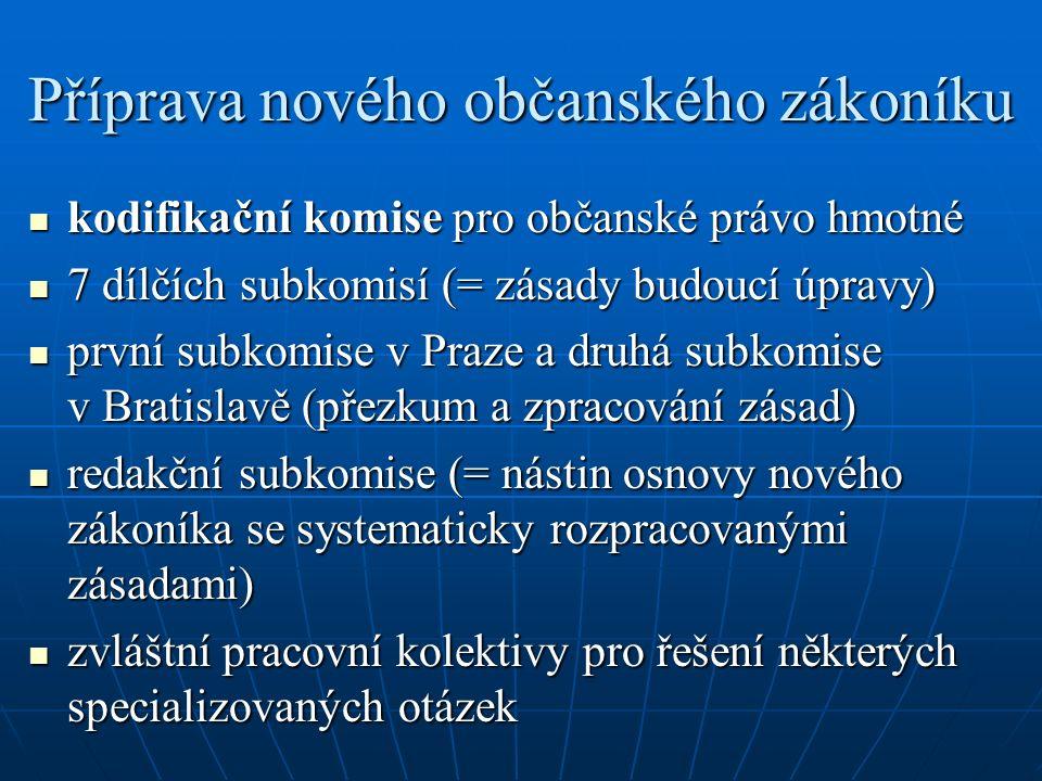 Příprava nového občanského zákoníku kodifikační komise pro občanské právo hmotné kodifikační komise pro občanské právo hmotné 7 dílčích subkomisí (= zásady budoucí úpravy) 7 dílčích subkomisí (= zásady budoucí úpravy) první subkomise v Praze a druhá subkomise v Bratislavě (přezkum a zpracování zásad) první subkomise v Praze a druhá subkomise v Bratislavě (přezkum a zpracování zásad) redakční subkomise (= nástin osnovy nového zákoníka se systematicky rozpracovanými zásadami) redakční subkomise (= nástin osnovy nového zákoníka se systematicky rozpracovanými zásadami) zvláštní pracovní kolektivy pro řešení některých specializovaných otázek zvláštní pracovní kolektivy pro řešení některých specializovaných otázek