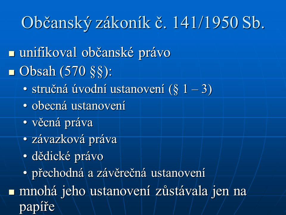 Občanský zákoník č. 141/1950 Sb.
