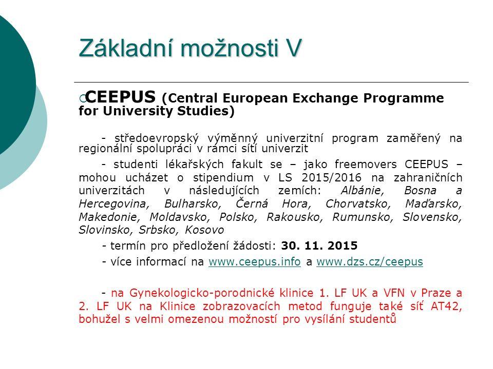 Základní možnosti V  CEEPUS (Central European Exchange Programme for University Studies) - středoevropský výměnný univerzitní program zaměřený na regionální spolupráci v rámci sítí univerzit - studenti lékařských fakult se – jako freemovers CEEPUS – mohou ucházet o stipendium v LS 2015/2016 na zahraničních univerzitách v následujících zemích: Albánie, Bosna a Hercegovina, Bulharsko, Černá Hora, Chorvatsko, Maďarsko, Makedonie, Moldavsko, Polsko, Rakousko, Rumunsko, Slovensko, Slovinsko, Srbsko, Kosovo - termín pro předložení žádosti: 30.