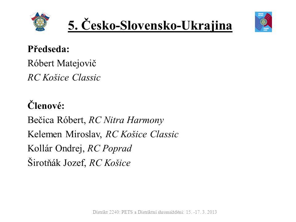5. Česko-Slovensko-Ukrajina Předseda: Róbert Matejovič RC Košice Classic Členové: Bečica Róbert, RC Nitra Harmony Kelemen Miroslav, RC Košice Classic