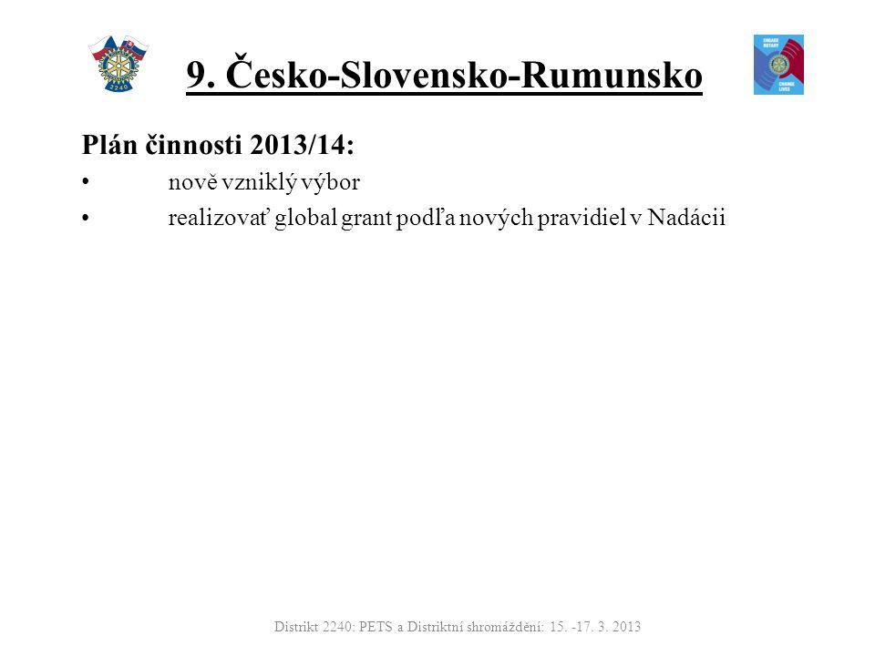 9. Česko-Slovensko-Rumunsko Plán činnosti 2013/14: nově vzniklý výbor realizovať global grant podľa nových pravidiel v Nadácii