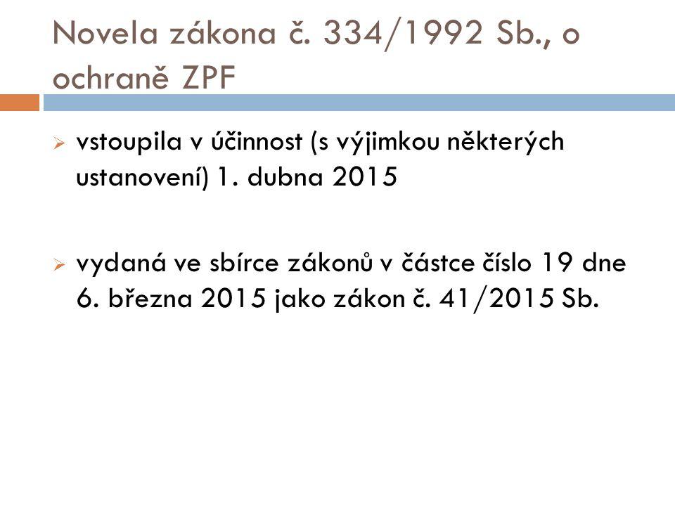 Novela zákona č. 334/1992 Sb., o ochraně ZPF  vstoupila v účinnost (s výjimkou některých ustanovení) 1. dubna 2015  vydaná ve sbírce zákonů v částce