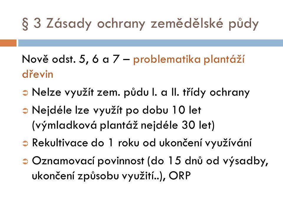 § 3 Zásady ochrany zemědělské půdy Nově odst. 5, 6 a 7 – problematika plantáží dřevin  Nelze využít zem. půdu I. a II. třídy ochrany  Nejdéle lze vy