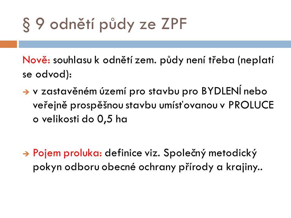 § 9 odnětí půdy ze ZPF Nově: souhlasu k odnětí zem. půdy není třeba (neplatí se odvod):  v zastavěném území pro stavbu pro BYDLENÍ nebo veřejně prosp