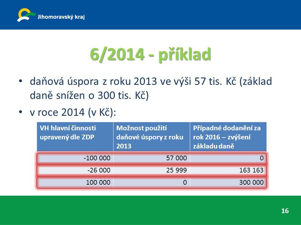 6/2014 - příklad daňová úspora z roku 2013 ve výši 57 tis.