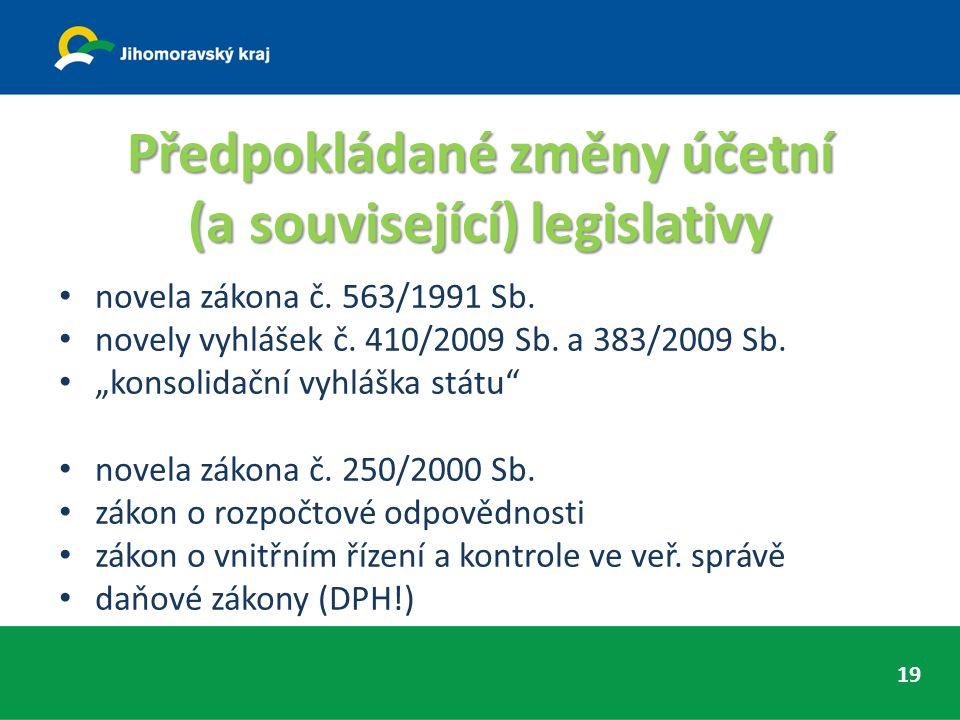 Předpokládané změny účetní (a související) legislativy novela zákona č.