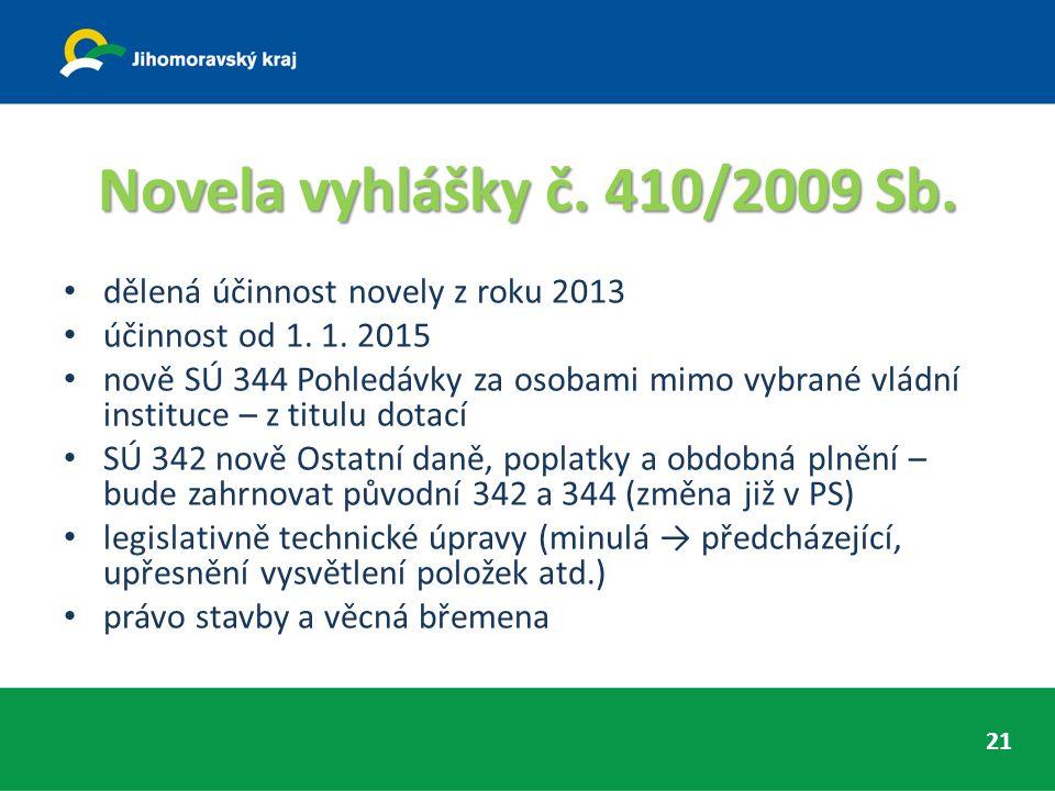 Novela vyhlášky č. 410/2009 Sb. dělená účinnost novely z roku 2013 účinnost od 1.